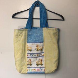 Quilted handmade diaper shoulder bag Paddington